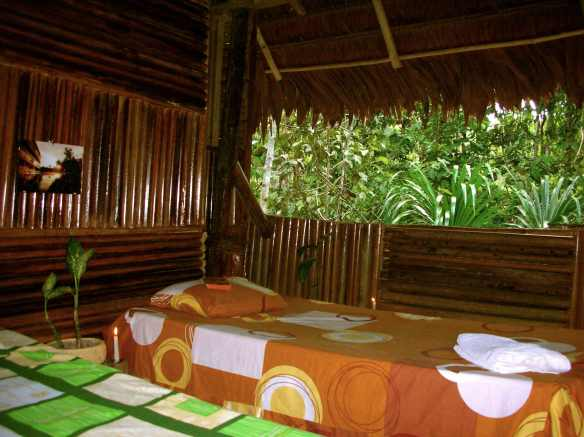 A cozy, warmth room, with mosquito nets, with view on trees.